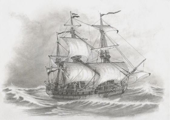 Dutch East India Company ship (drawing)